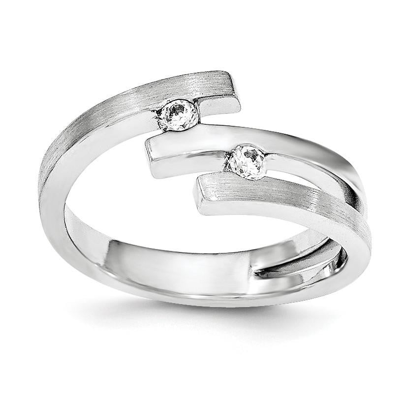 Sterling Silver Brushed And Polished CZ Ring - shirin-diamonds