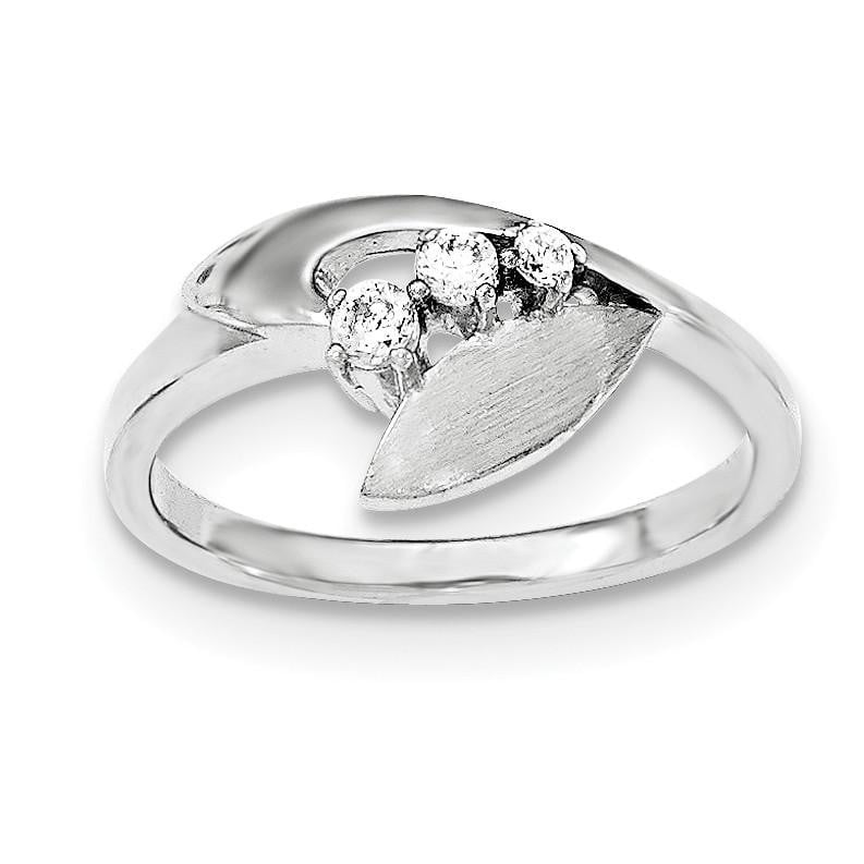Sterling Silver Polished And Brushed CZ Ring - shirin-diamonds