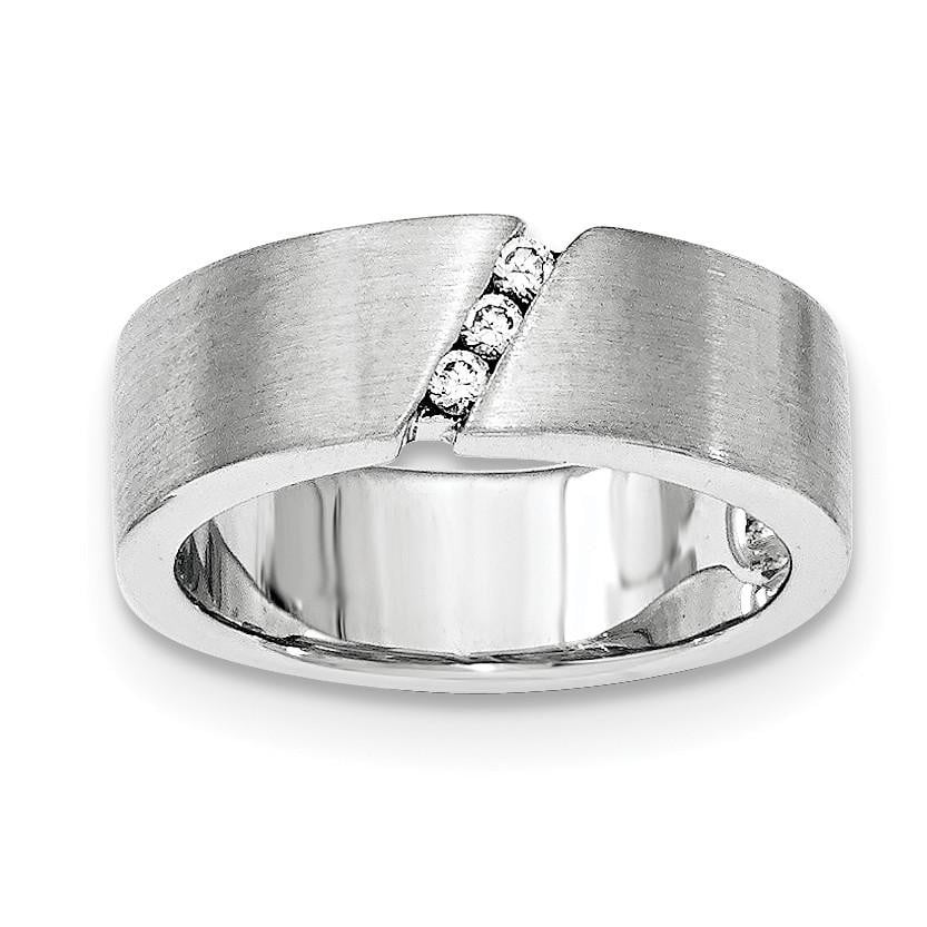 Sterling Silver Brushed CZ Ring - shirin-diamonds