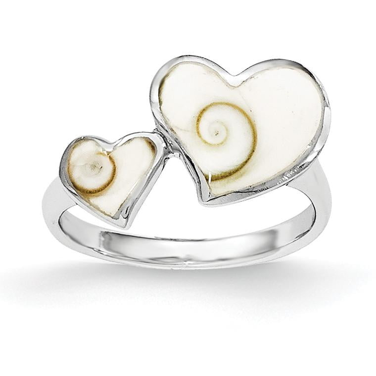 Sterling Silver Polished Hearts Shiva Eye Ring - shirin-diamonds