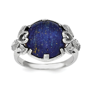 Sterling Silver Rhodium-plated w/Lapis Lazuli Ring - shirin-diamonds