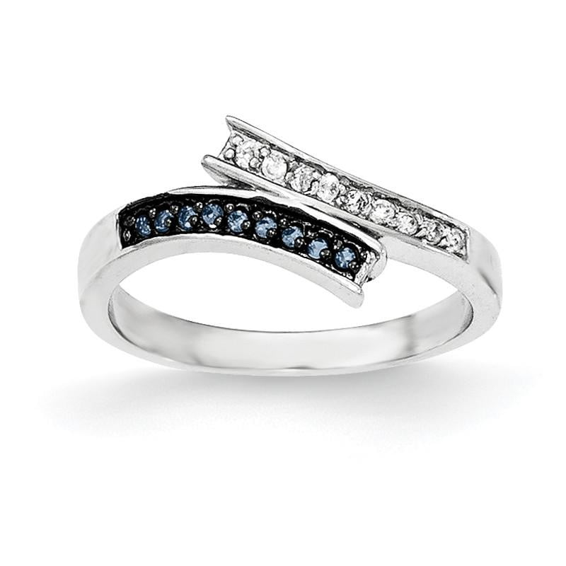 Sterling Silver Polished CZ & Blue Glass Stone Ring - shirin-diamonds