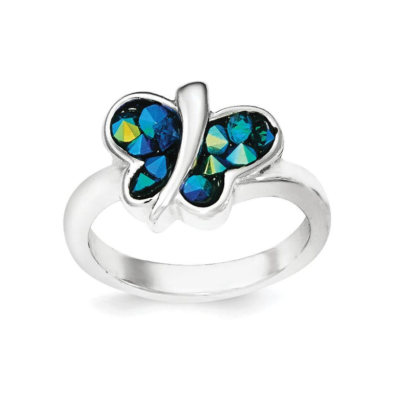 Sterling Silver Rhodium-plated Blue Crystal Butterfly Ring - shirin-diamonds