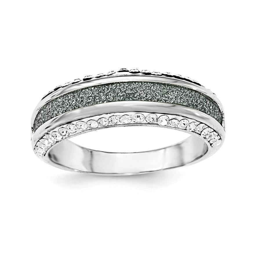 Sterling Silver Crystal Blue Laser Glitter Texture Ring - shirin-diamonds