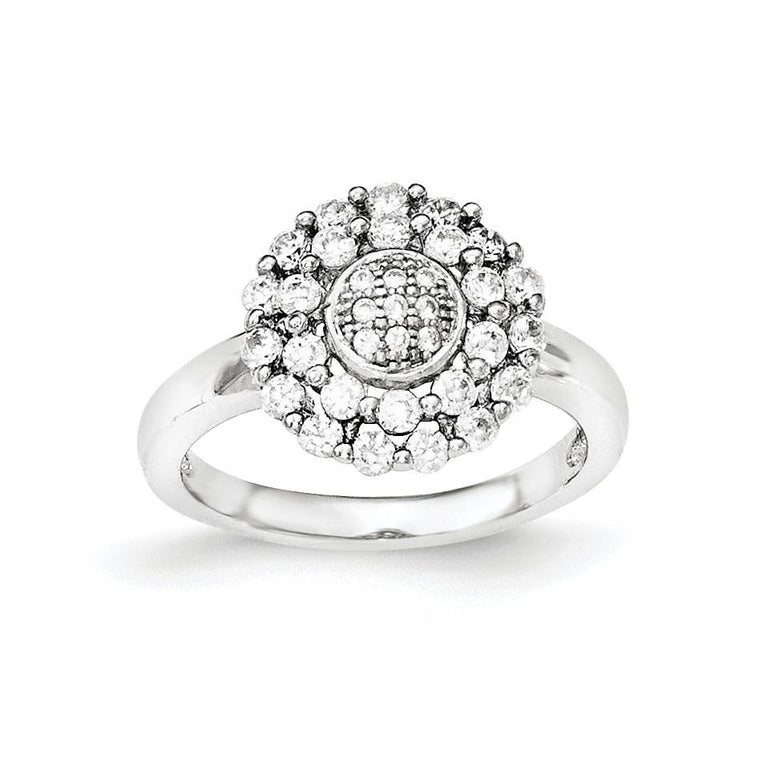 Sterling Silver Polished CZ Ring - shirin-diamonds