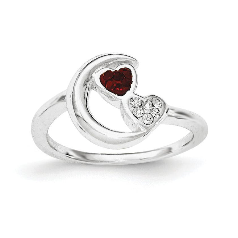 Sterling Silver Red & White Crystal Half Moon/Heart Ring - shirin-diamonds