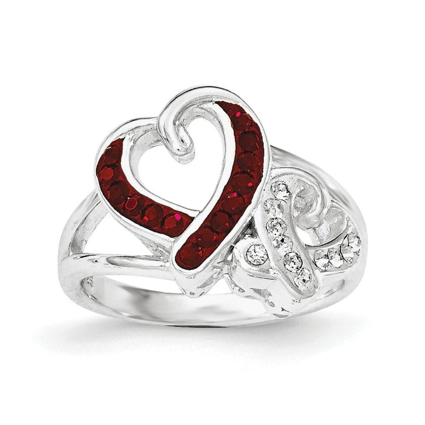 Sterling Silver Red and White Crystal Two Heart Ring - shirin-diamonds
