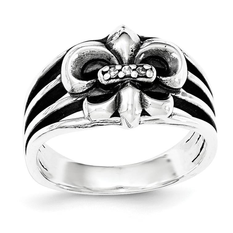 Sterling Silver Antiqued Fleur De Lis CZ Ring - shirin-diamonds