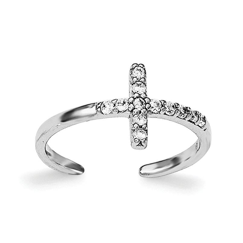Sterling Silver Rhodium-plated CZ Cross Toe Ring - shirin-diamonds