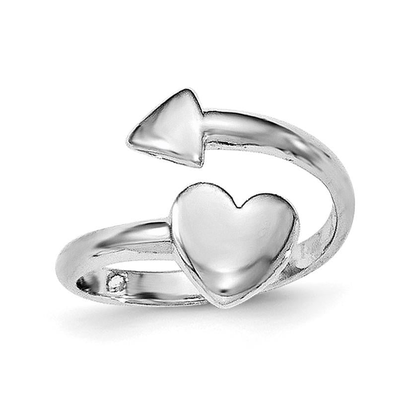 Sterling Silver Rhodium-plated Heart w/Arrow Toe Ring - shirin-diamonds