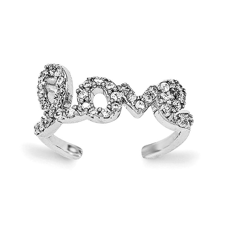 Sterling Silver Rhodium-plated CZ Love Toe Ring - shirin-diamonds