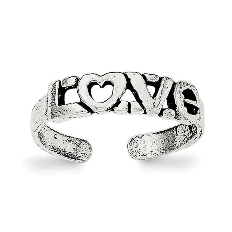 Sterling Silver Antiqued LOVE Toe Ring - shirin-diamonds