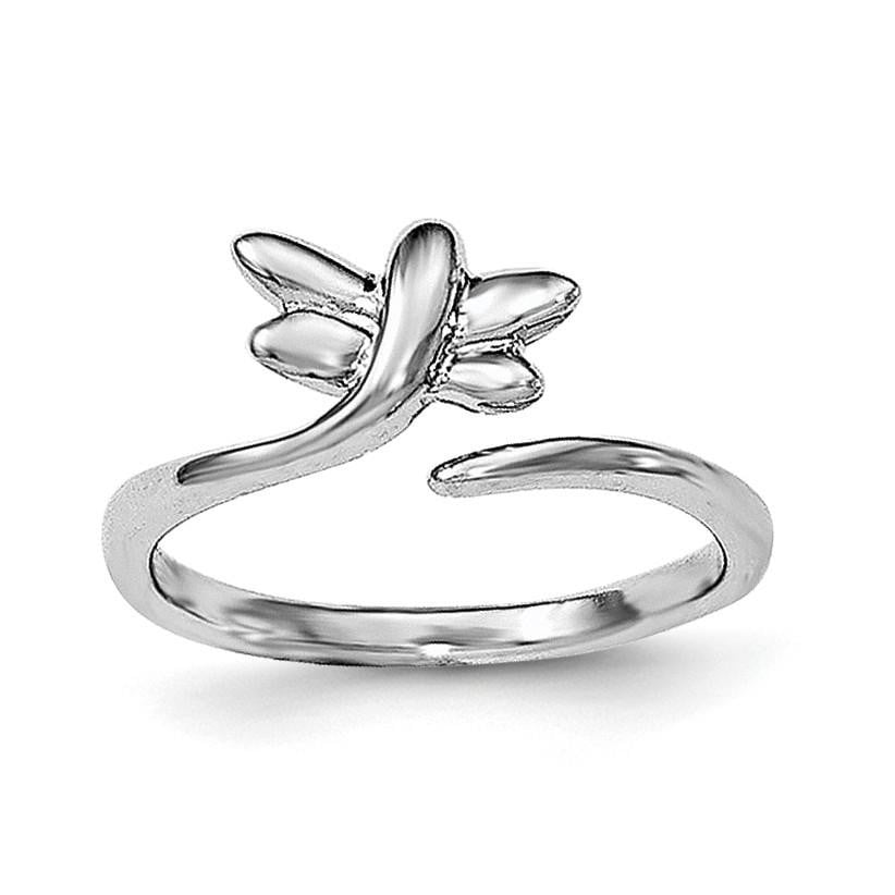 Sterling Silver Rhodium-plated Dragonfly Toe Ring - shirin-diamonds