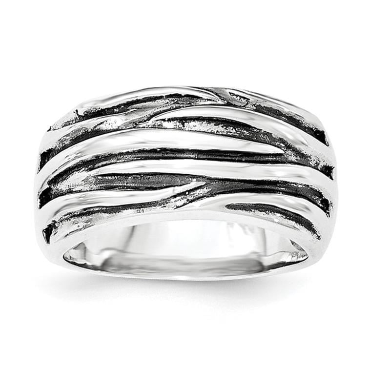 Sterling Silver Polished & Oxidized Wavy Pattern Ring - shirin-diamonds