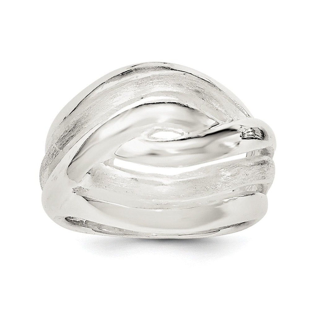 Sterling Silver Polished Wavy Lines Ring - shirin-diamonds