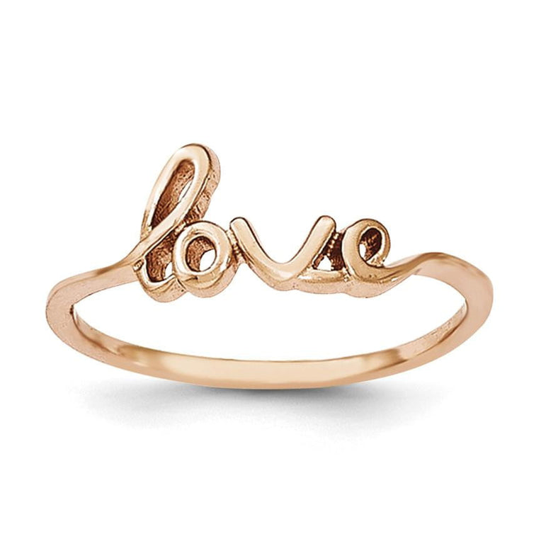Sterling Silver Rose Gold-Plated Love Ring - shirin-diamonds