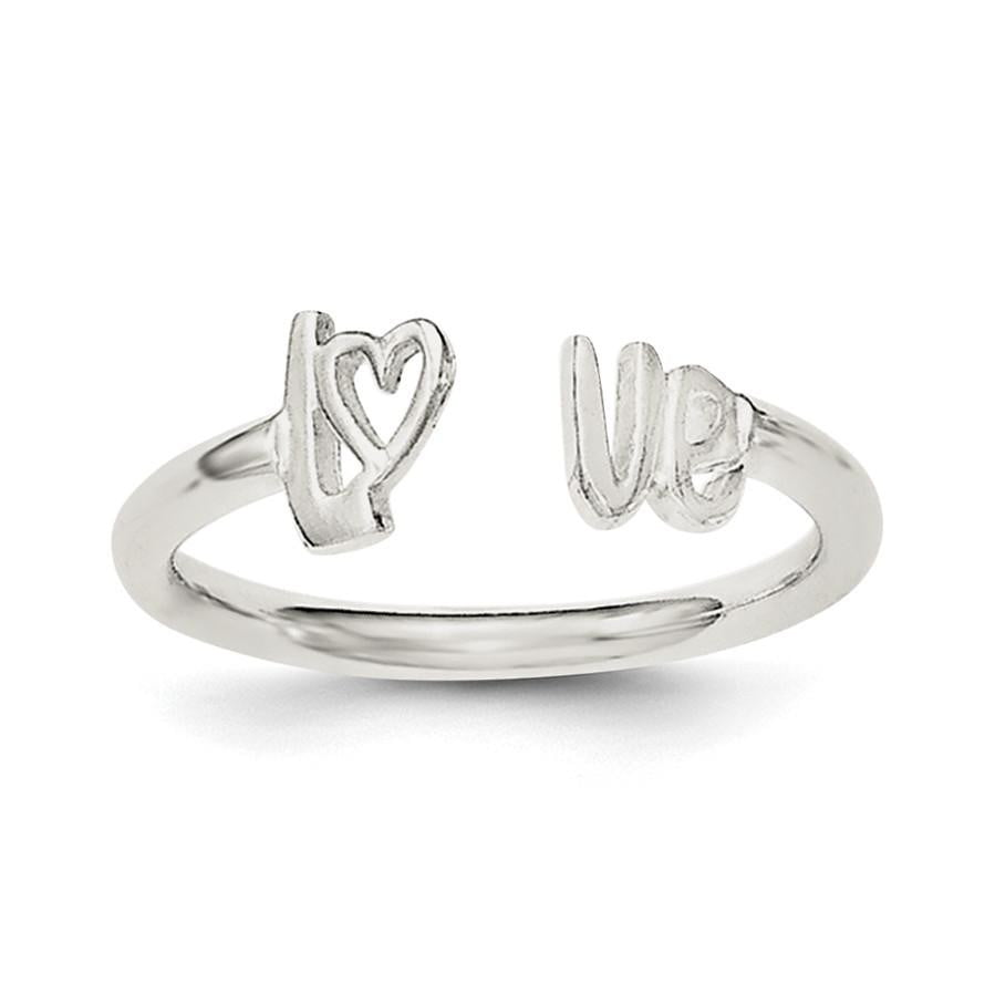Sterling Silver Polished 'Love' Adjustable Ring - shirin-diamonds