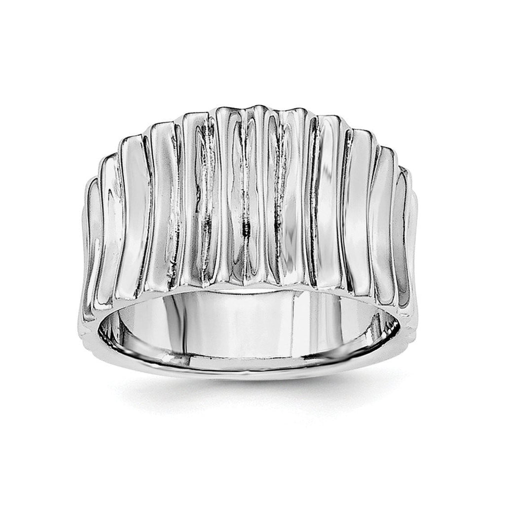 Sterling Silver Rhodium-plated Polished Ridged Ring - shirin-diamonds