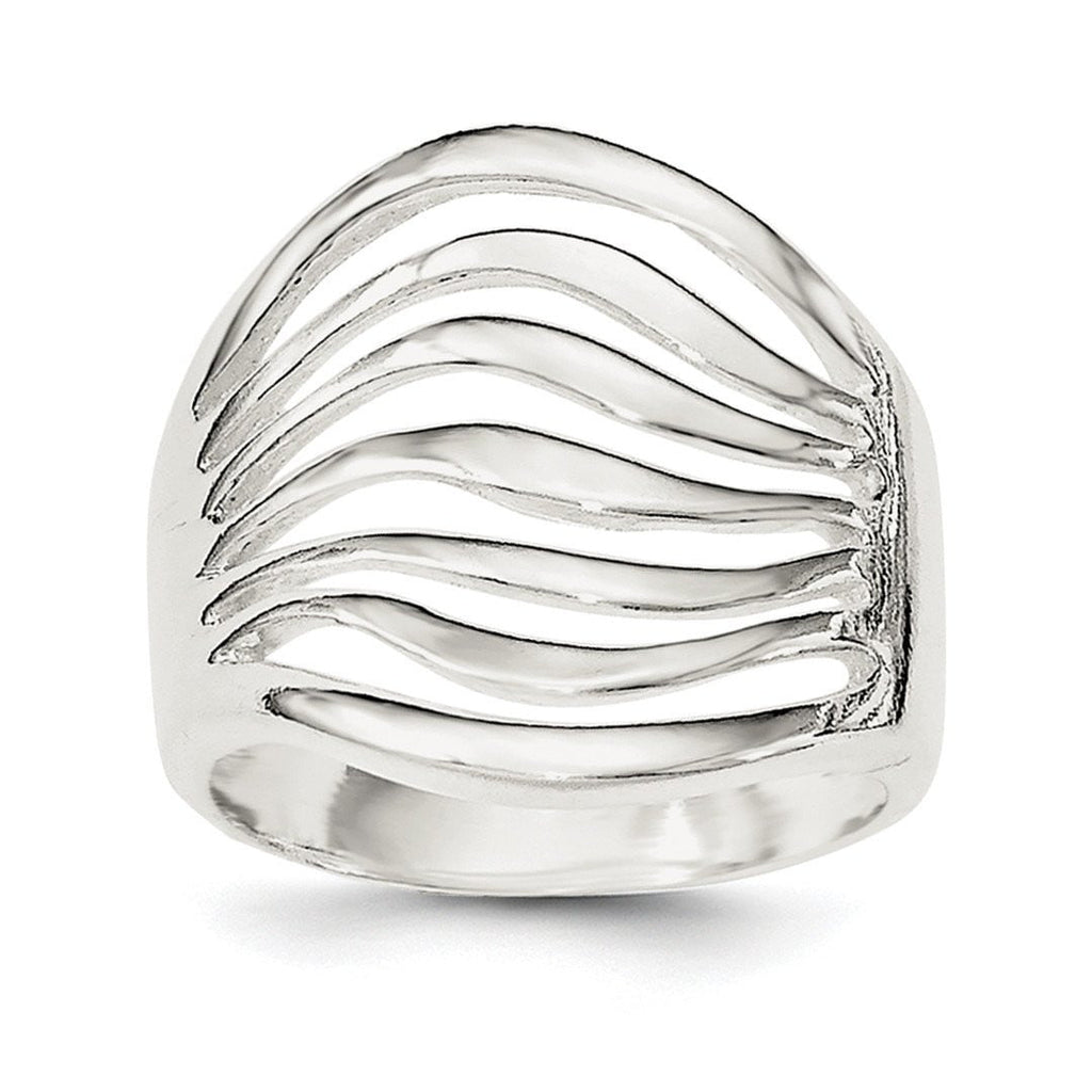 Sterling Silver Polished Wave Ring - shirin-diamonds