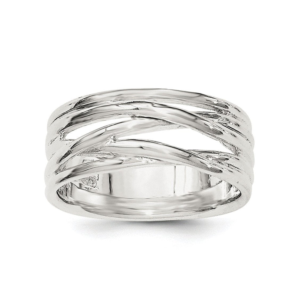 Sterling Silver Polished 5 Band Intersecting Ring - shirin-diamonds