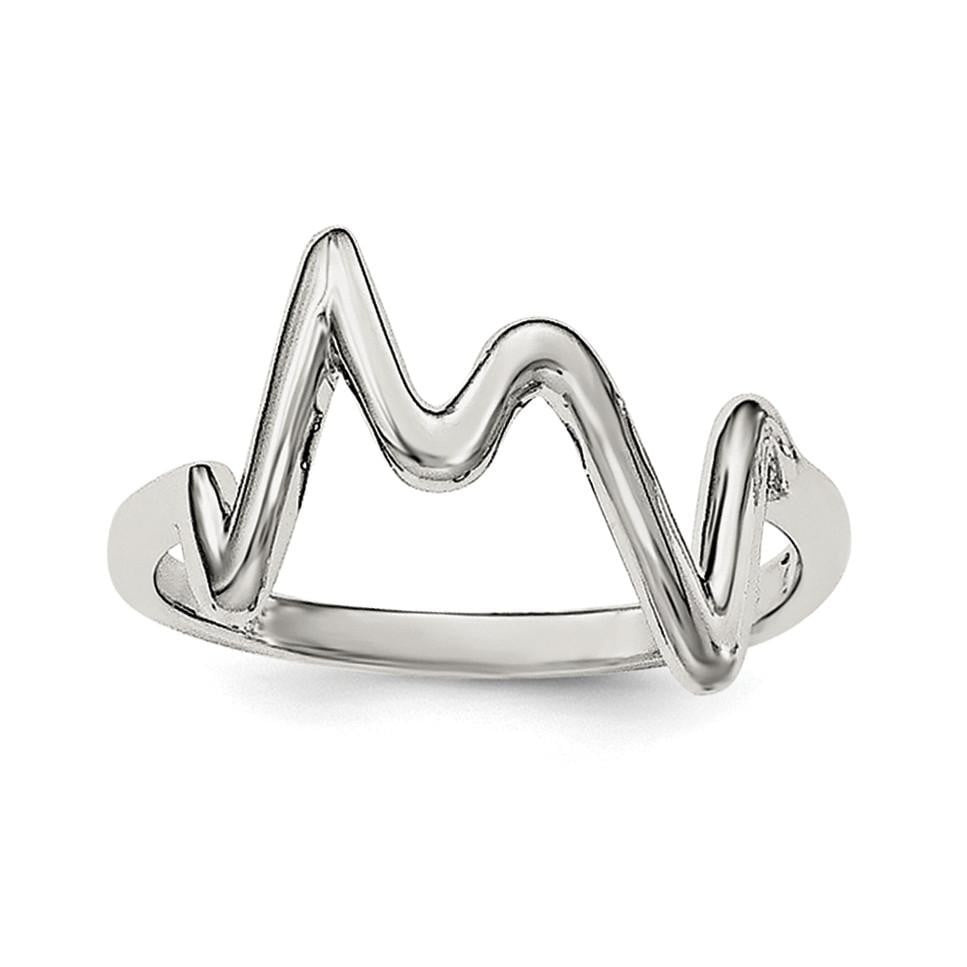 Sterling Silver Rhodium-plated Polished Zigzag Ring - shirin-diamonds