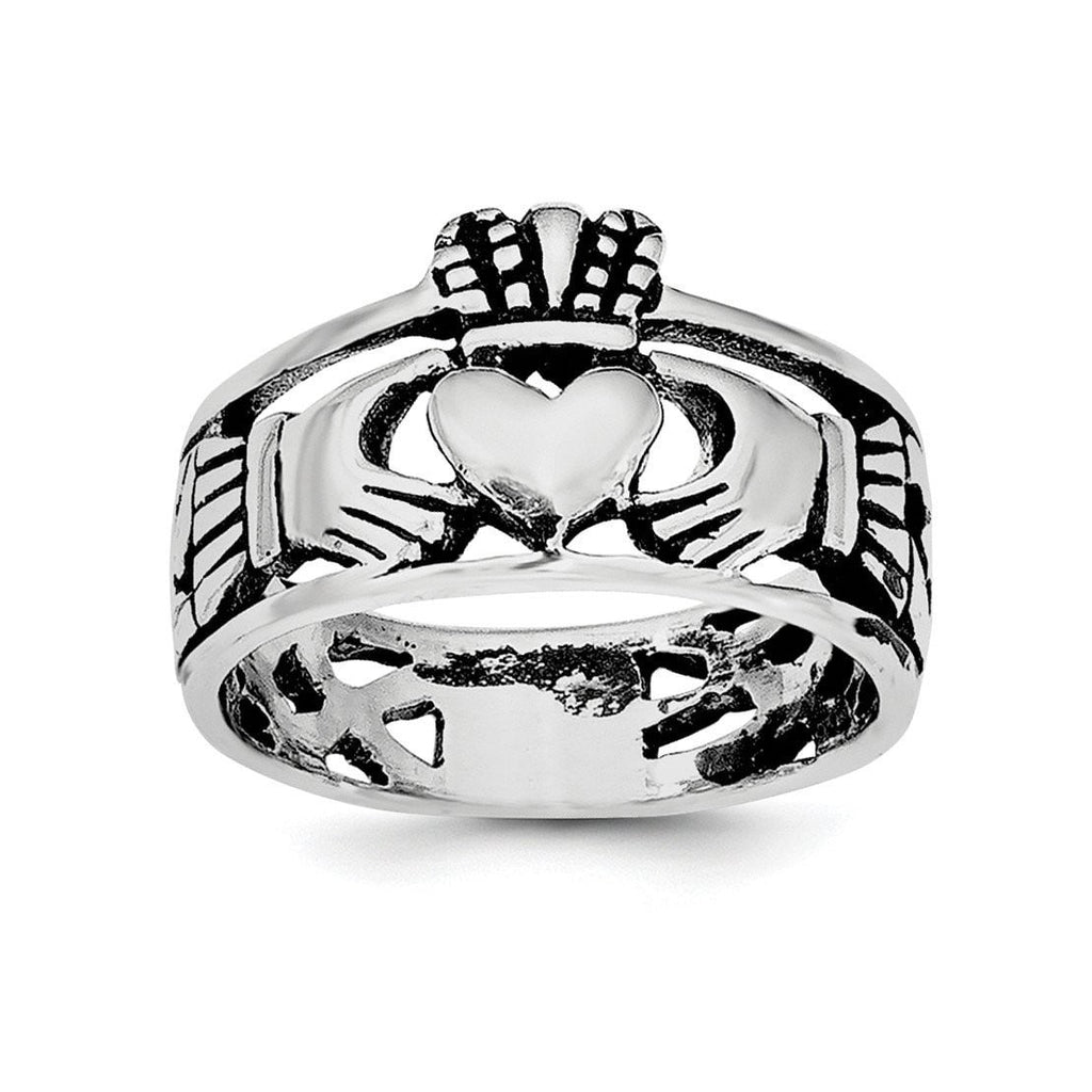 Sterling Silver & Rhodium Antiqued Claddagh Ring - shirin-diamonds