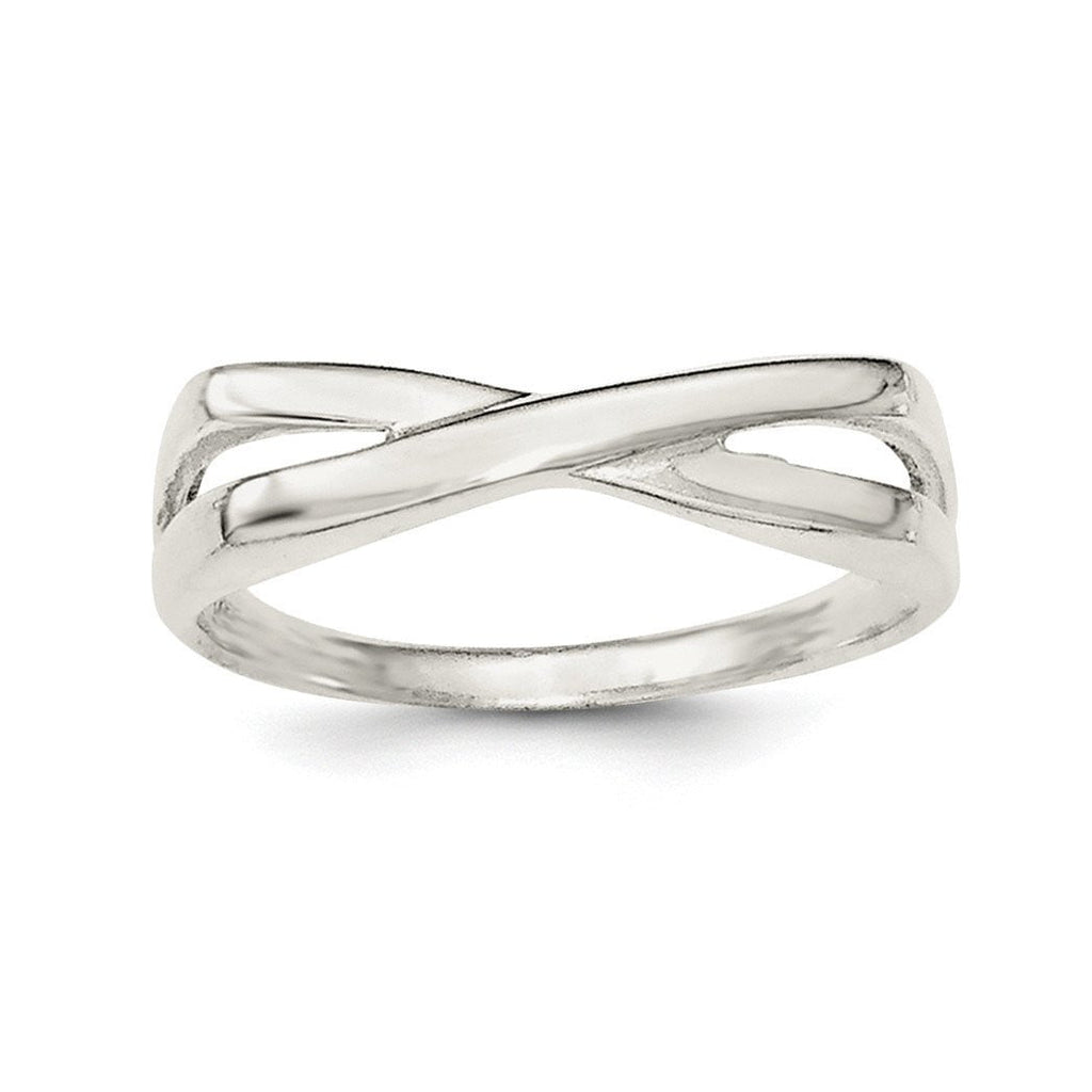 Sterling Silver Polished Criss Cross Ring - shirin-diamonds