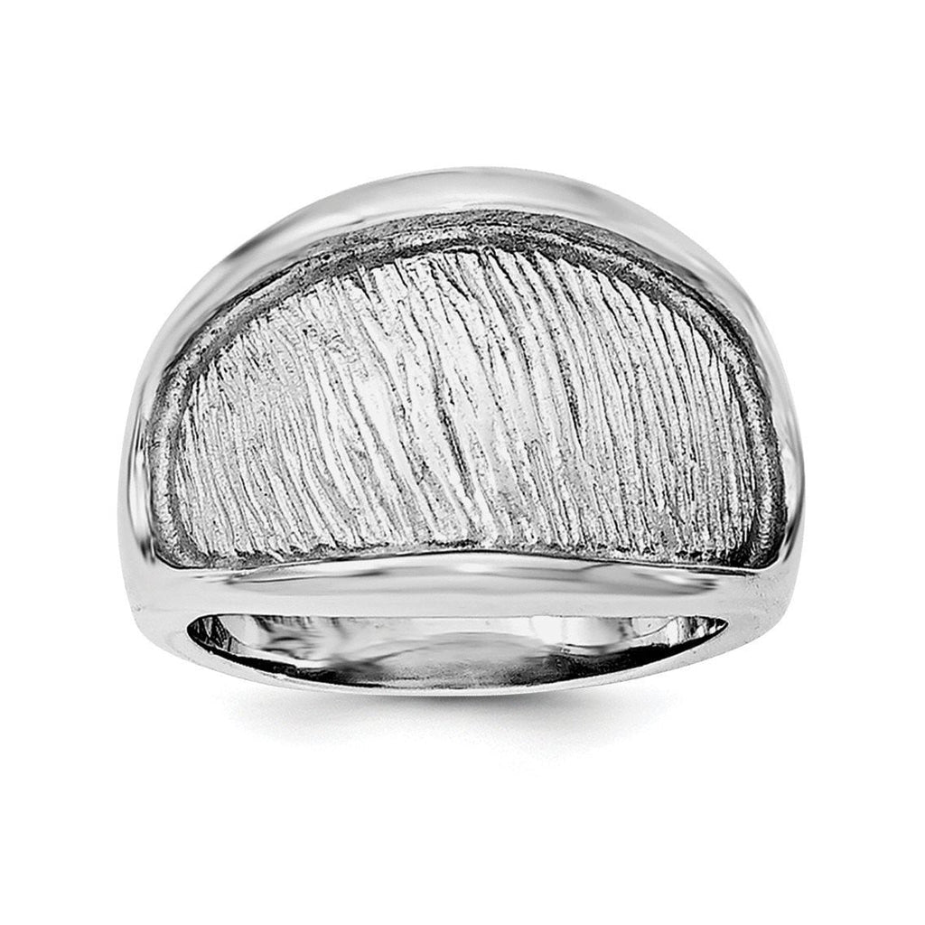 Sterling Silver Rhodium-plated Textured and Polished Ring - shirin-diamonds