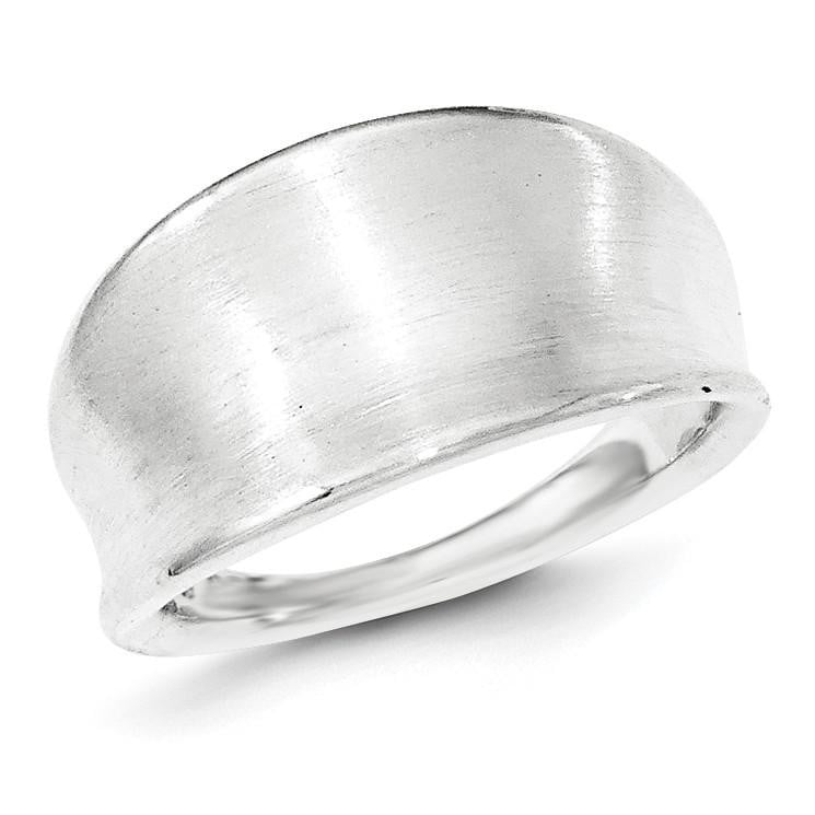 Sterling Silver Polished & Satin Groove Ring - shirin-diamonds
