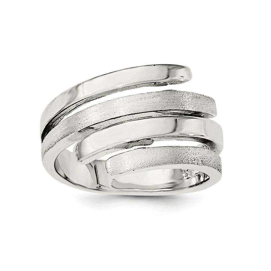 Sterling Silver Rhodium-plated Polished and Brushed Ring - shirin-diamonds