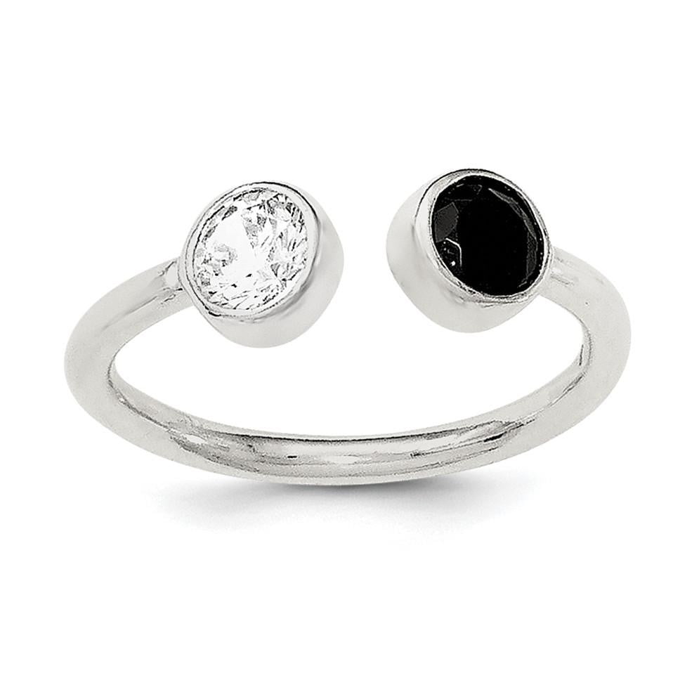 Sterling Silver Polished White and Black CZ Adjustable Ring - shirin-diamonds