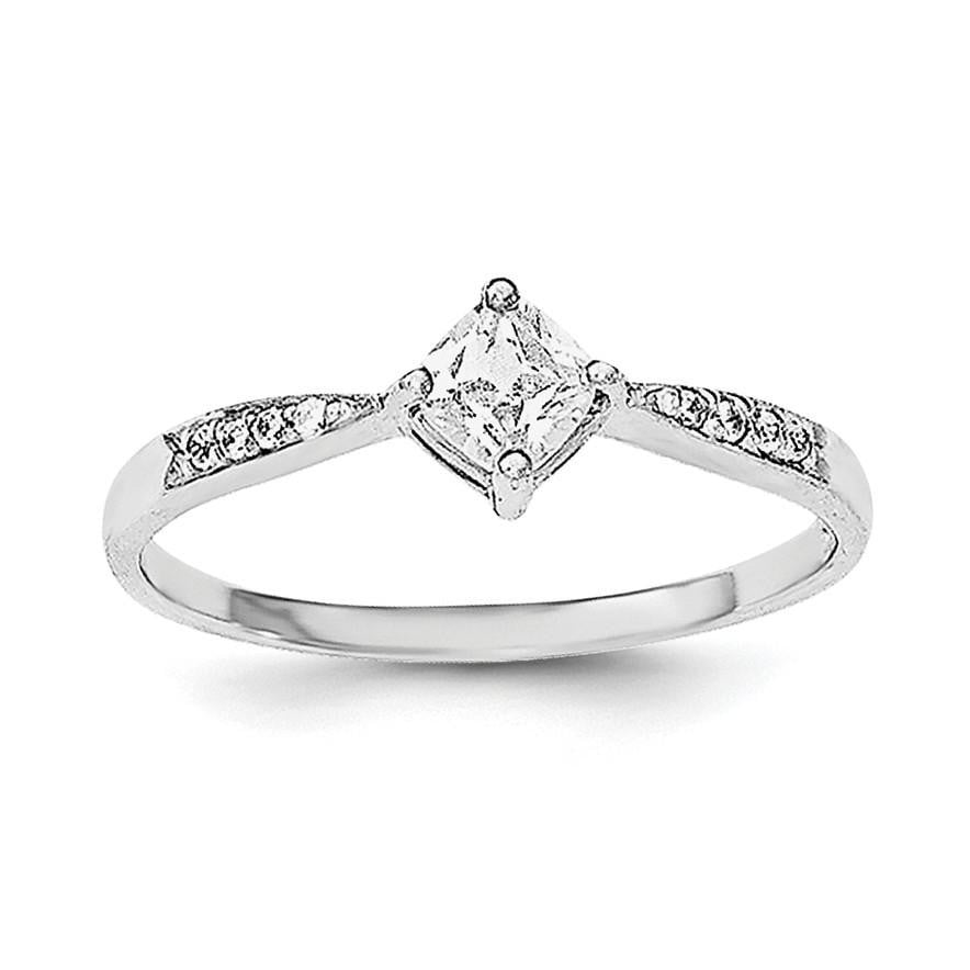 Sterling Silver Rhodium-plated Polished & Square Shaped CZ Ring - shirin-diamonds