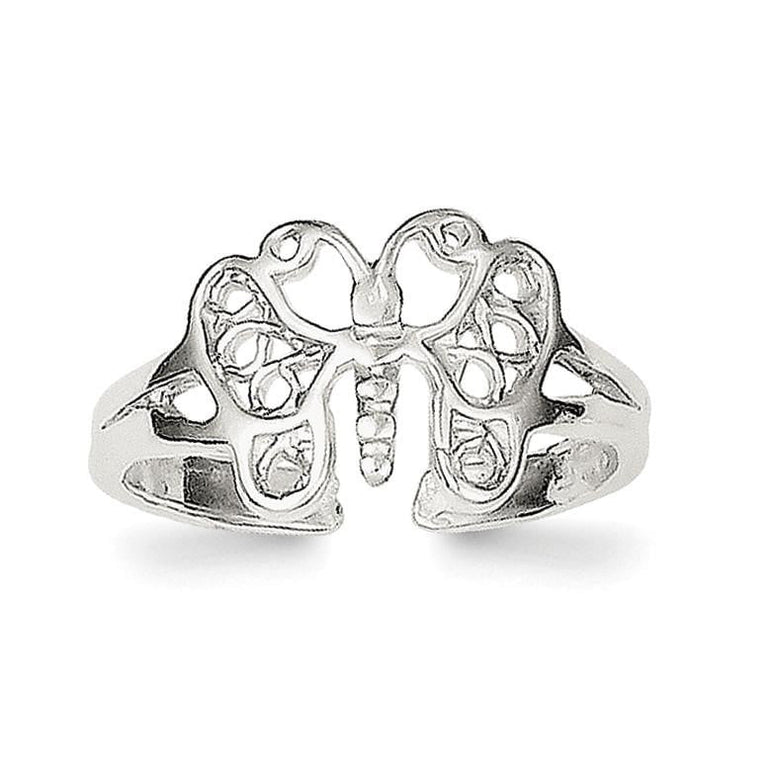 Sterling Silver Butterfly Toe Ring - shirin-diamonds