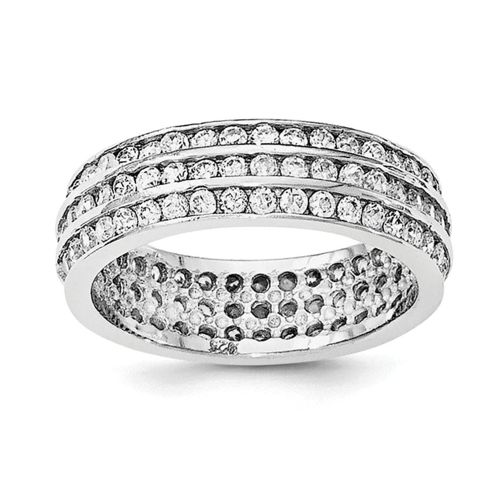 Sterling Silver Rhodium-plated 3-row Eternity Ring - shirin-diamonds