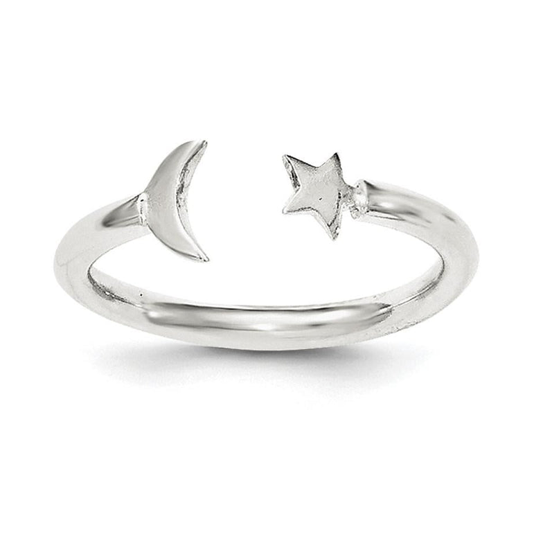 Sterling Silver Polished Half Moon and Star Adjustable Ring - shirin-diamonds