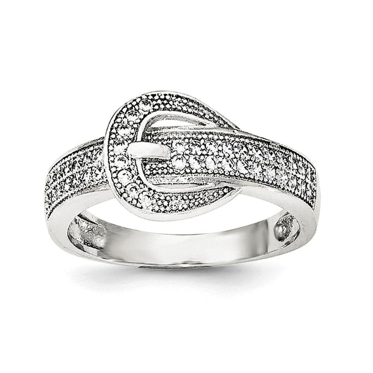 Sterling Silver Rhodium-plated CZ Buckle Ring - shirin-diamonds