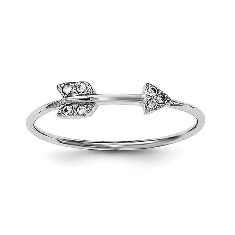 Sterling Silver Rhodium-plated Polished CZ Arrow Ring - shirin-diamonds