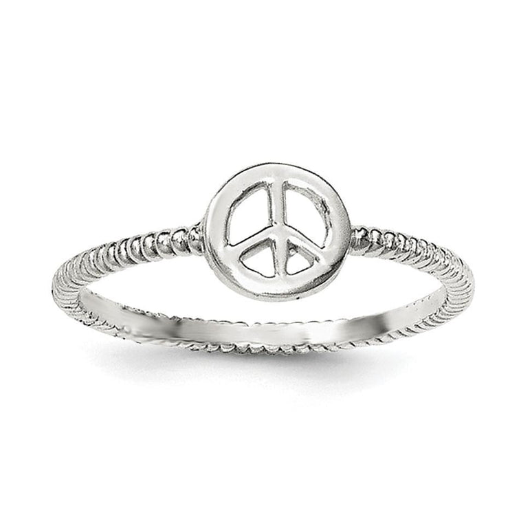 Sterling Silver Polished and Textured Peace Ring - shirin-diamonds