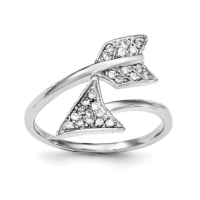 Sterling Silver Rhodium-plated Adjustable Polished CZ Arrow Ring - shirin-diamonds