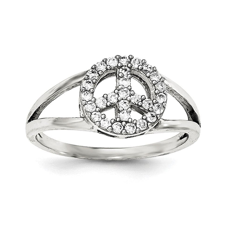 Sterling Silver Polished CZ Peace Sign Ring - shirin-diamonds