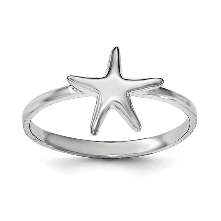 Sterling Silver Rhodium-plated Polished Starfish Ring - shirin-diamonds