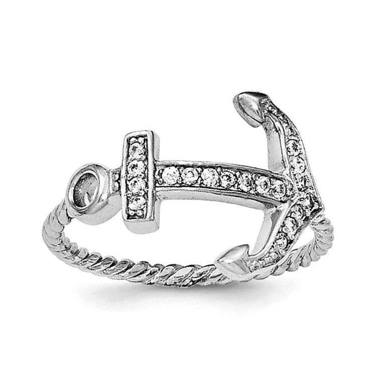 Sterling Silver Rhodium-plated Polished & Textured CZ Anchor Ring - shirin-diamonds