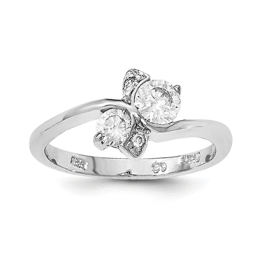 Sterling Silver Polished Rhodium Plating CZ Ring - shirin-diamonds