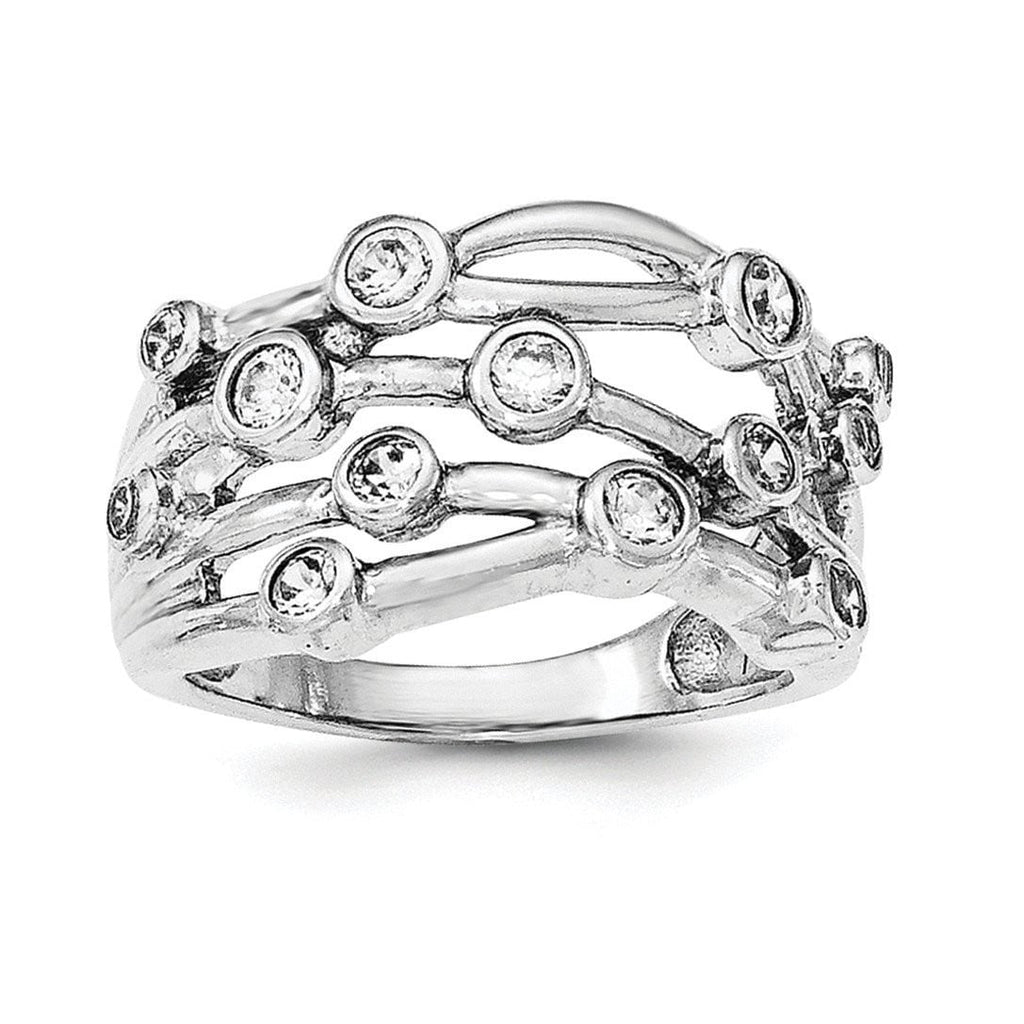 Sterling Silver Rhodium-plated Polished CZ Criss Cross Ring - shirin-diamonds