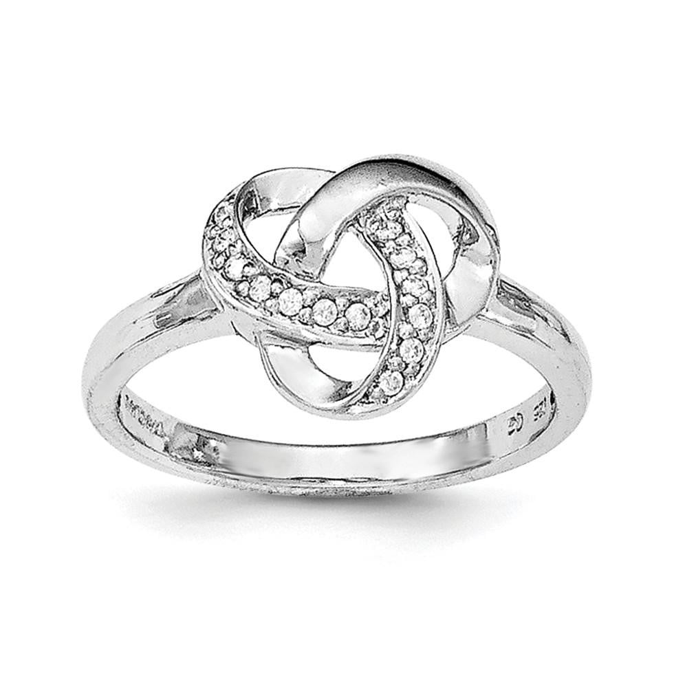 Sterling Silver Rhodium-plated CZ Knot Ring - shirin-diamonds