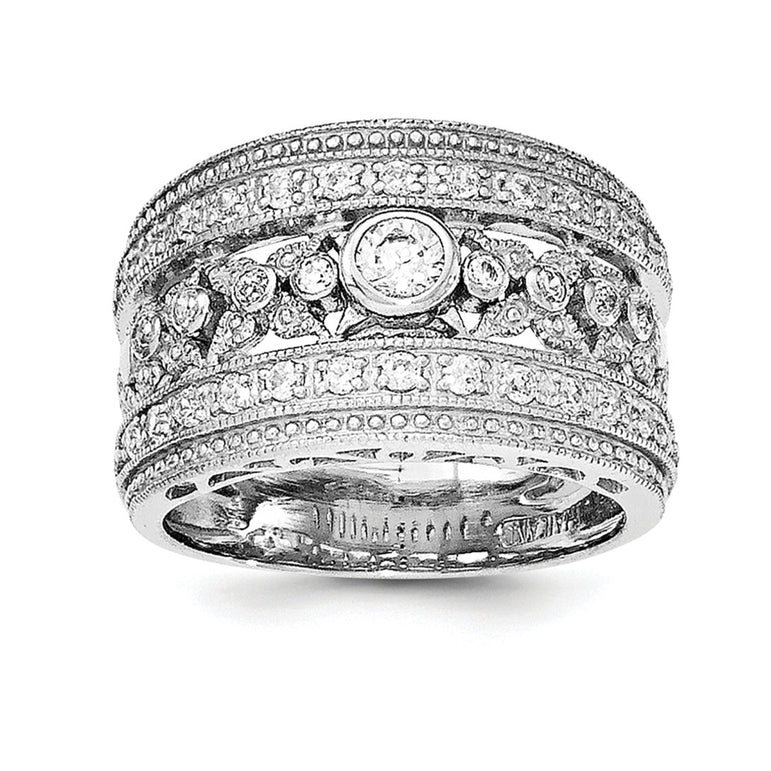 Sterling Silver Rhodium-plated w/CZ Ring - shirin-diamonds