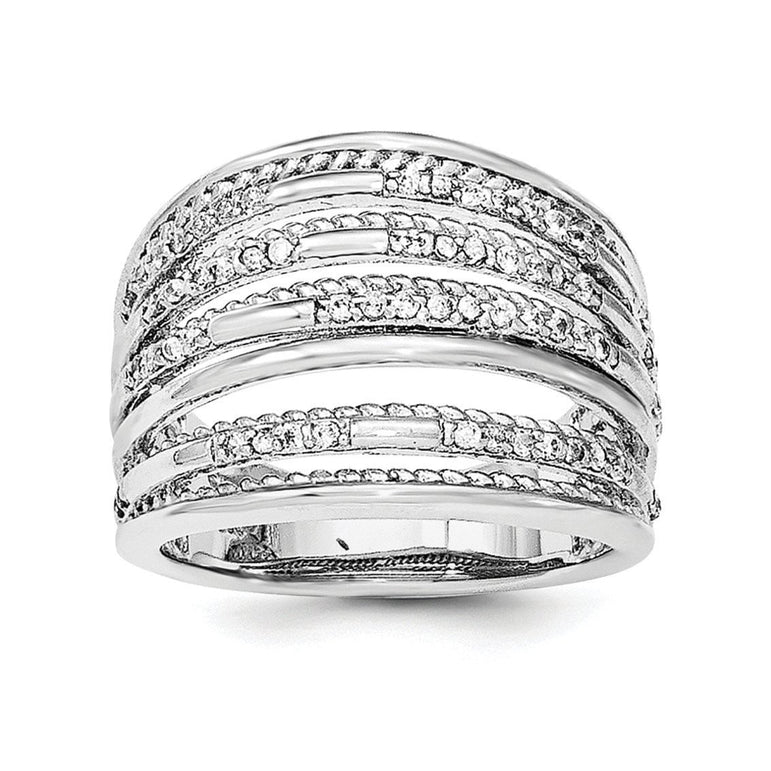 Sterling Silver Rhodium-plated CZ Rope Multi Row Ring - shirin-diamonds