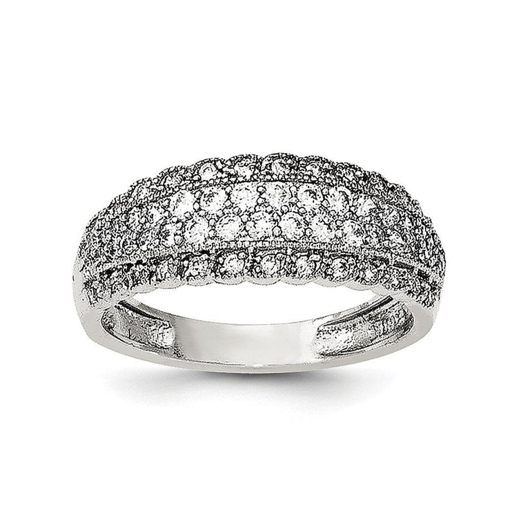 Sterling Silver Rhodium-plated CZ Dome Ring - shirin-diamonds