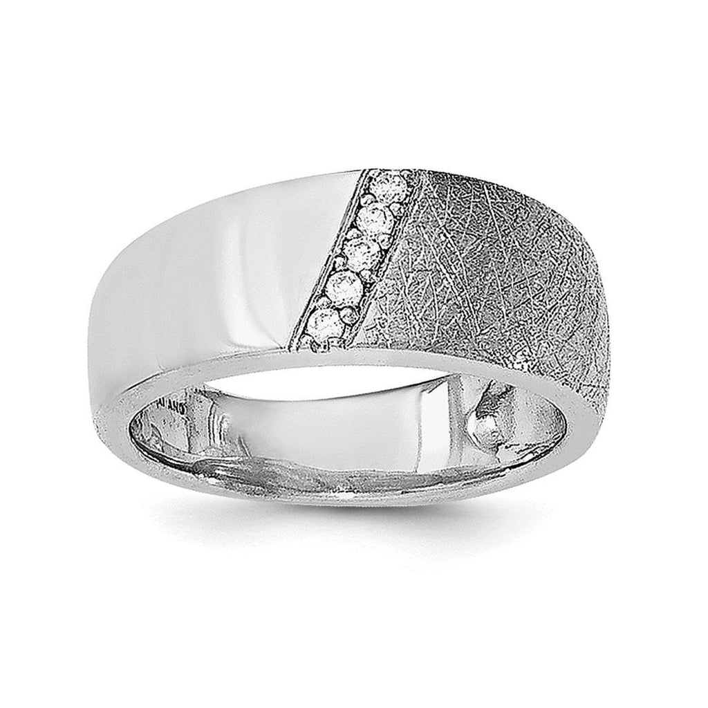 Sterling Silver Polished & Textured CZ Ring - shirin-diamonds