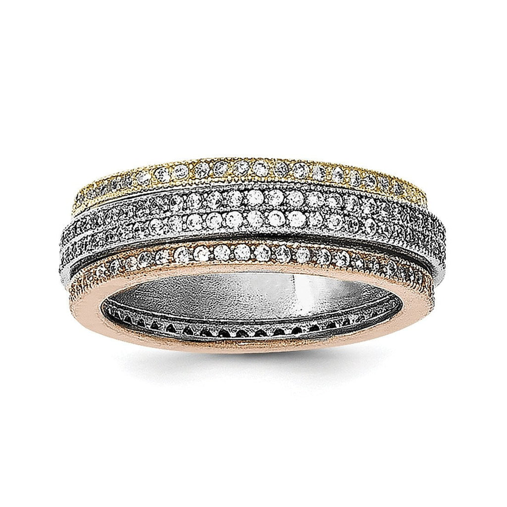 Sterling Silver Rhodium Polished Tri-color Pav' Eternity Motion Ring - shirin-diamonds
